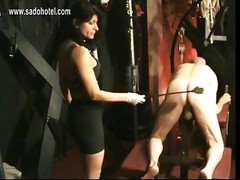 Masked slave got spanked on