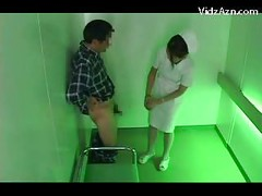 Nurse On Her Knees Giving Blowjob For Patient Cum To Palm In The Elevator<br>