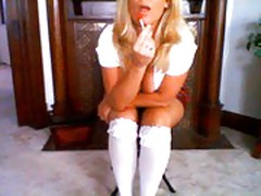 Horny milf plays schoolgirl!