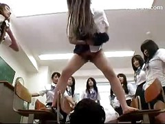 Guy Getting Pissed To Face By Many Schoolgirls In The Classroom<br>