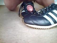 Sneaker fuck sox feet cum