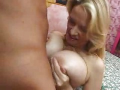 MATURE BUSTY SQUIRTER WITH BIG BOOBS  ( amateur mom mother granny cumshot blonde tits blowjob younger olderwoman )<br>