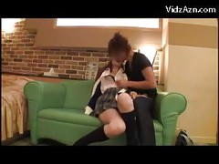 Schoolgirl In Uniform Getting Her Tits And Pussy Rubbed Licked Fingered On The Couch<br>