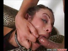 Horny brunette throat fucked hard<br>