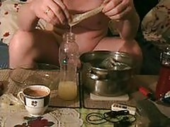 Cum eating from 7 Condoms