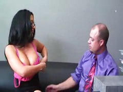 Cum on her Big Tits ( amateur mature mom mother milf secretary glasses cumshot office )<br>