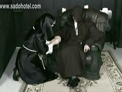 Horny screaming nun got hit