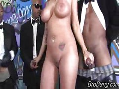 Trina Michaels gets bukkaked by ten blacks<br>