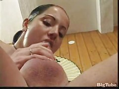 tattooed brunette sits on cock and gets facial<br>