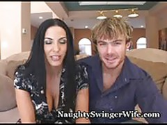 Swinger couple fucks hot coed