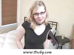 Anna in glasses spreads her pussy lips<br>