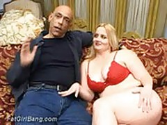 Fat blonde two man fun