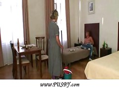 Mature shy cleaning woman