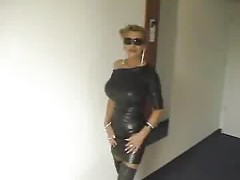 An Austrian mature street whore hooker with big boobs gets extreme fucked in all holes by a machine