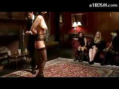 Slave Girl In Stockings Nipples Clips Spanked To Red Getting Breast Bondage Nipples Tortured In Front Of Rich People In The Saloon<br>