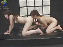 Asian Lesbians Fuck Double Ended Dildo