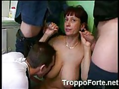 Russian milf fucks 3 guests