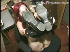 RedHead chick takes the large black cock