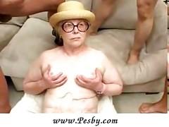 Saggy granny gangbanged<br>