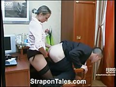 Secretary in pantyhose fuck her boss with strap-on