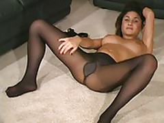 Aubrey in black pantyhose -