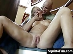 Blonde with pink gaping pussy