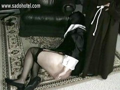 Horny nun slave with fat ass