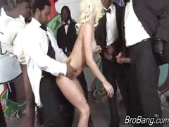 Jada Stevens gets bukkaked by ten blacks<br>