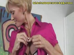 Blonde Milf Black Cock Sucking<br>