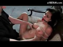 Bondaged Girl Mouthgag Getting Her Nipples Tortured Pussy Licked Fucked Swallowing Cum In The Empty Building<br>