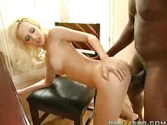 Blond bitch banged by black<br>
