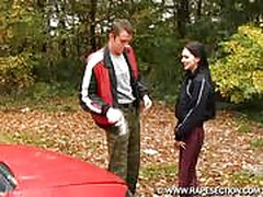 Dark haired beauty gets fucked up ass for car repair (fantas