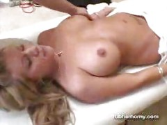 Massaged oiled up blonde<br>