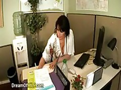 Sexy office secretary plays