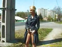 Nasty blonde pissing outdoor<br>