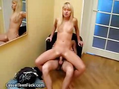 Blonde Teen Babe With Tight Pussy Rides On Cock<br>