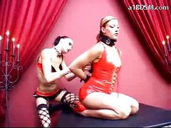 Girl In Latex Corset Getting Tied Spanked With Stick Pussy Licked By Mistress In The Dungeon<br>