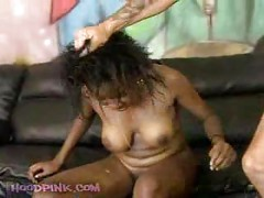 Facialy abused ebony slut<br>