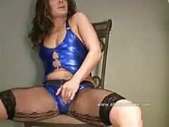 shiny taylor rubbing blue silver panties