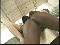 Blue-eyed ebony twins fucked by a white dude<br>