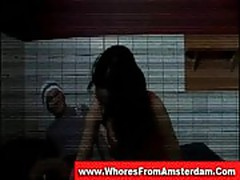 Dutch brunette hooker in red lingerie gets hardcored by tour