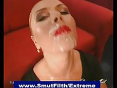Bukkake blonde gets her face plastered with cum at bizarre o