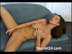 Kinky brunette with dildo part 1
