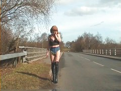 tranny whore - tiniest hotpants in public