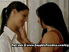 Ella and Daphne, tender brunette lesbians kissing