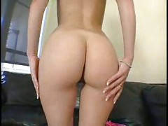 Shaved busty blonde with nice butt<br>