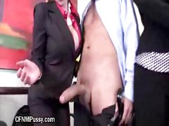 Hot MILF Gives Handjob During A Meeting<br>
