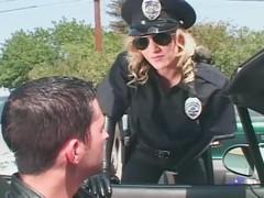 Kinky female cop molesting a