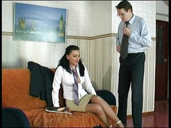 secretary in tan pantyhose