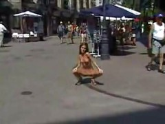 European girl naked in the street<br>